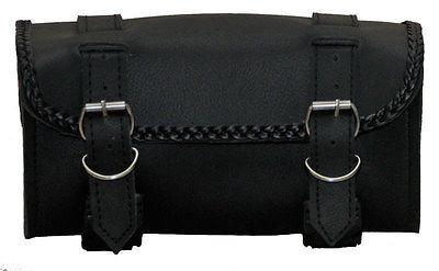 VS118H Vance Leather 2 Strap Tool Bag with Braid Accents