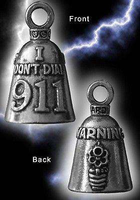 Warning I Don't Dial 911 Guardian Motorcycle Spirit Bell Gremlin Key Ring Accessory Gift