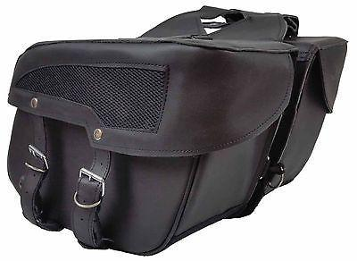 VS208 Vance Leather Medium 2 Strap Slant Saddle Bag with Mesh Insert