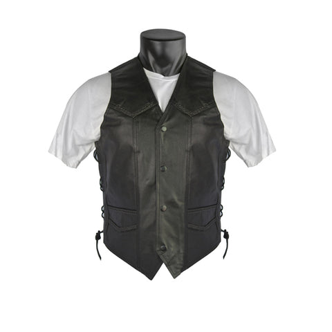 VL903S Vance Leather Men's Economy Leather Braided Vest and Lace Sides