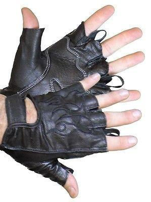 VL447 Vance Leather Fingerless Gloves with Gel Palm