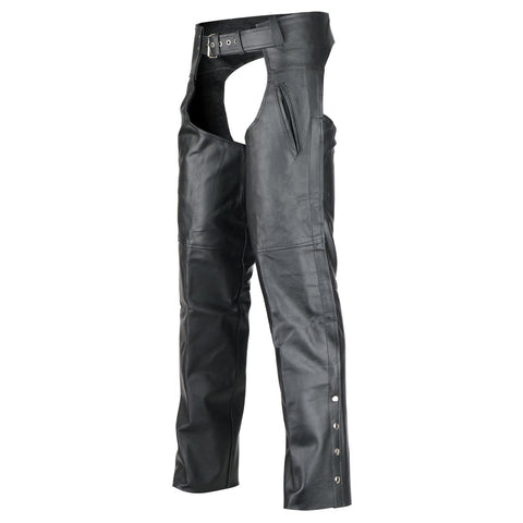 VL812S Deep Pocket Motorcycle Leather Chaps