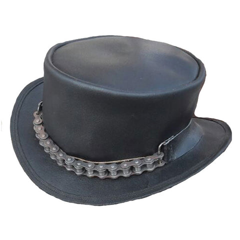 Steampunk Chain Driven Leather Top Hat