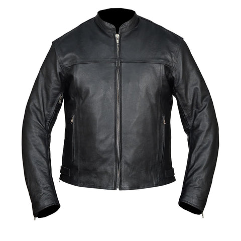 HMM544 High Mileage Men's Black Vented Premium Leather Scooter Jacket