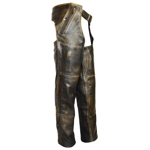 HM811DB Vance Leather High Mileage Distressed Brown Leather Chap with Removable Liner