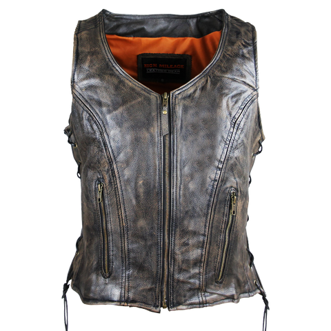 HML1029DB Vance Leather High Mileage Ladies Distressed Brown Lace Side Vest