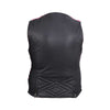 HML1033 Ladies Premium Leather Vest with Leather Scrunch Sides (available with purple or fuchsia scrunch sides)