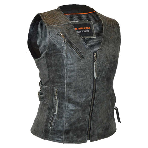 HML1037DG Ladies Distressed Gray Premium Leather Concealed Carry Motorcycle Vest