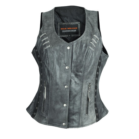 HML1038DG Ladies Lightweight Distressed Gray Leather Vest with Grommeted Twill and Lace Highlights