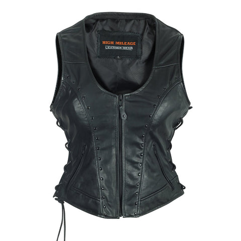 HML1043 High Mileage Ladies Lace Side Vest Adorned with Studs