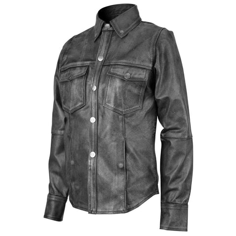 Women's Black Lambskin Leather Shirt