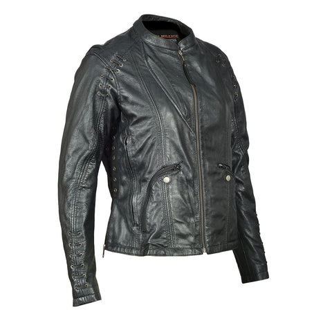 HML638B High Mileage Ladies Lightweight Black Goatskin Jacket w/ Grommeted Twill and Lace Highlights