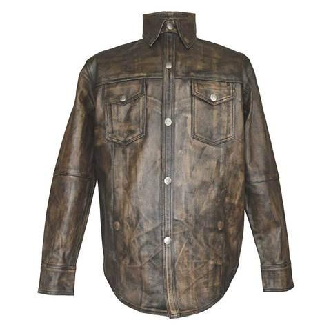 HMM504DB H/M Distressed Brown Premium Cowhide Leather Shirt