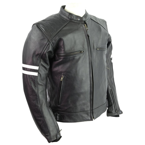 HMM537 HMM Leather Vented Scooter Jacket W/ Stripes