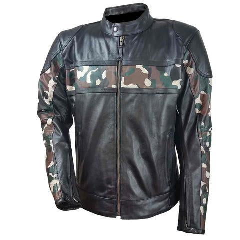 HMM540 H/M Leather Scooter Jacket with Camouflage Chest and Sleeve Stripes