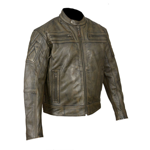 HMM542DB High Mileage Men's Distressed Brown Padded and Vented Leather Scooter Jacket