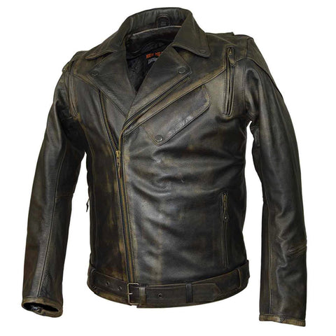 HMM545D High Mileage Distressed Brown Classic Biker Cowhide Leather Jacket