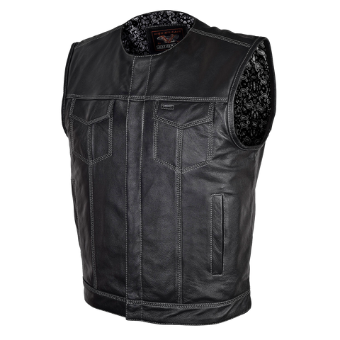 HMM919BP High Mileage Men's Zipper and Snap Closure Leather Club Vest Quick Access Gun Pocket w/Paisley Liner