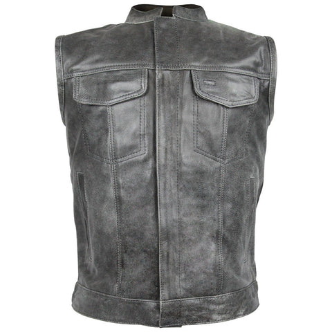 HMM914DG Vance Leather Distressed Gray Motorcycle Club Leather Vest