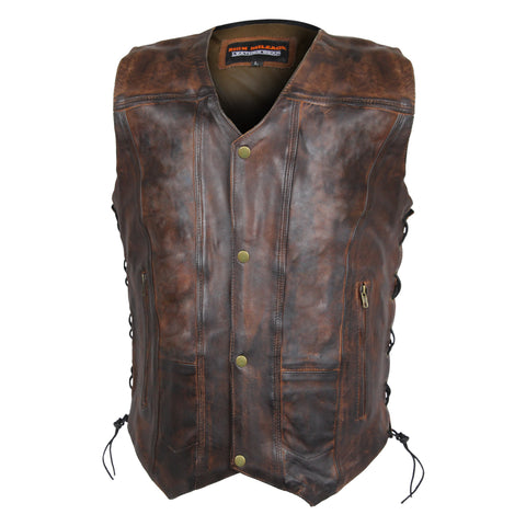 High Mileage Men's Vintage Brown 10 Pocket Vest