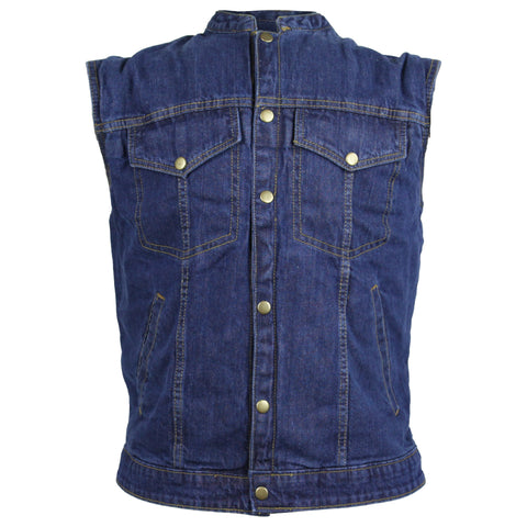 Vance Leather Mens Denim Patch Holder Vest