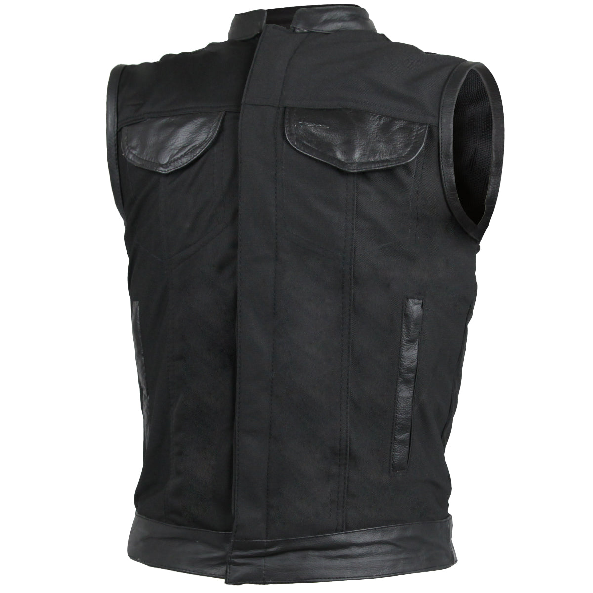 Heavy Duty Textile Club Vest with Leather Accents and Snaps And Zipper Closure