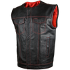 HMM919R High Mileage Men's Zipper and Snap Closure Leather Club Vest Quick Access Gun Pocket w/Red Liner
