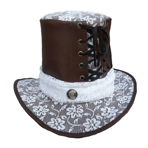 Leather and Lace Top Hat