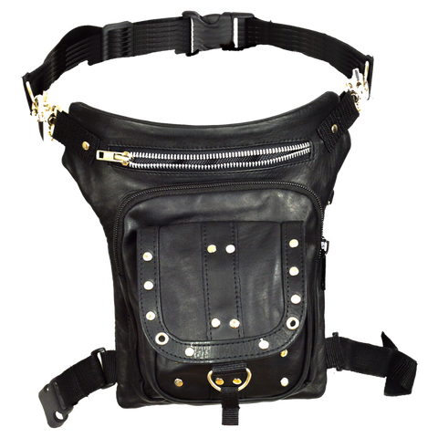 VA561 Black Carry Leather Thigh Bag with Waist Belt
