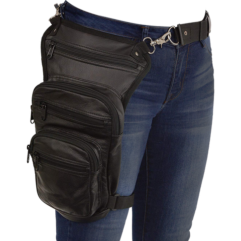 VA562 Black Carry Leather Thigh Bag with Waist Belt and concealed Gun Pocket