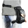 VA567 Black Carry Thigh Bag with Brown Leather Trims & concealed Gun Pocket