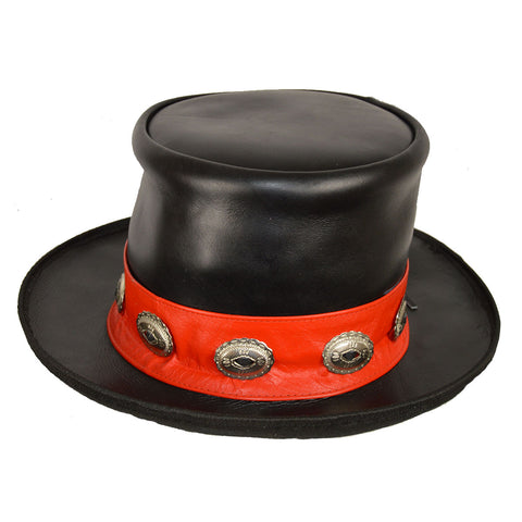 Men Black Leather Mad Hatter Top Hat with Red Stripe and Conchos