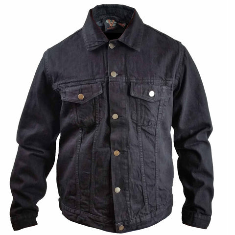 VB510 Men's Black Heavy Duty Denim Button Front Jacket