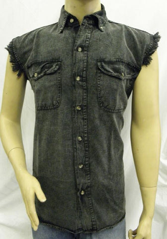 VB731 Men's Charcoal Acid Wash Cutoff Shirts