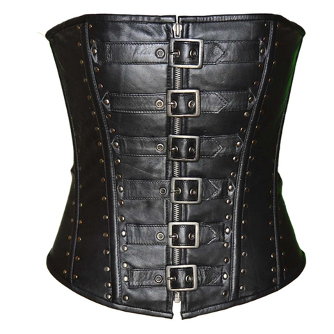 VC1317S Ladies Corset 6 Buckle Zip Front Studded