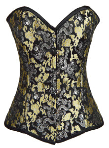 Ladies Brocade Corset Black with Silver and Gold