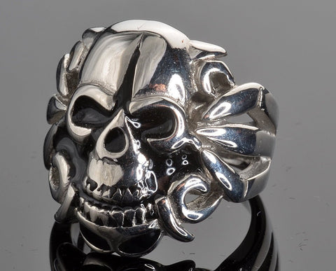 Stainless Steel Men's Angel Skull Ring