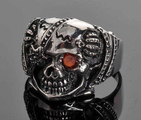 VJ1014 Stainless Steel Men's Eye Patch Skull Ring