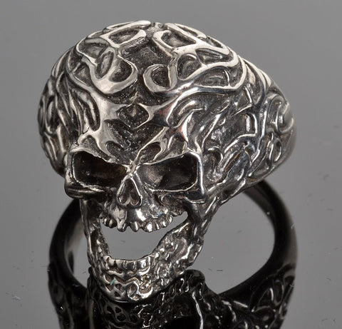 VJ1021 Stainless Steel Men's Tribal Tattoo Skull Ring