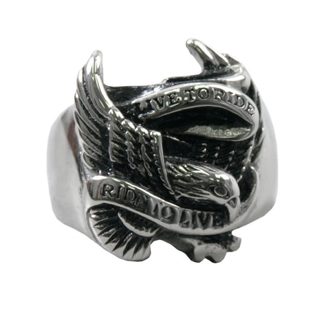 Stainless Steel Men's Live To Ride Ring