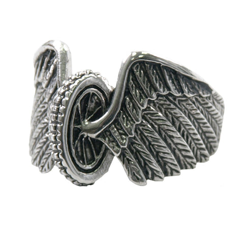 Stainless Steel Men's Winged Wheel Ring