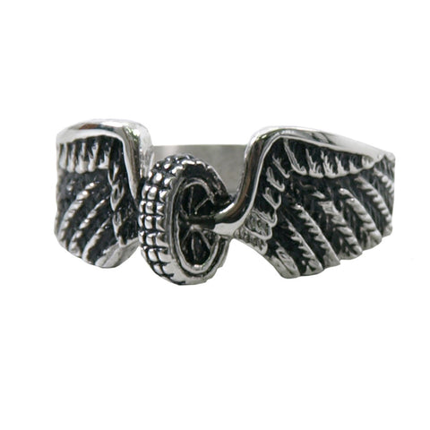 VJ1042 Stainless Steel Ladies Winged Wheel Ring