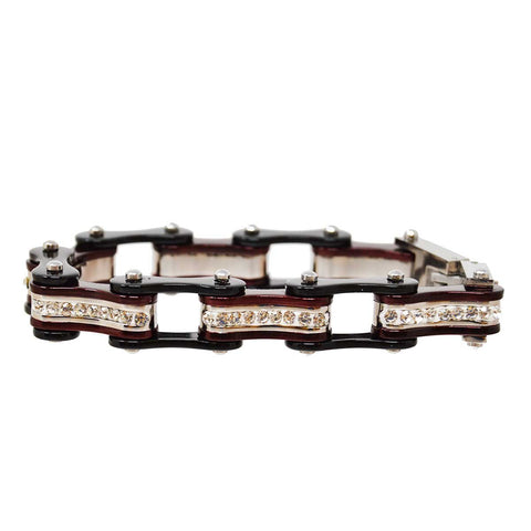 Two Tone Black and Candy Red Ladies Bike Chain Bracelet with White Crystal Centers