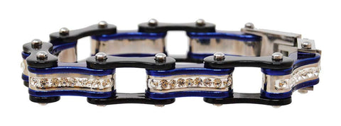 Vance Leather's bracelets Two Tone Black and Candy Blue Bike Chain Bracelet with White Crystal Centers