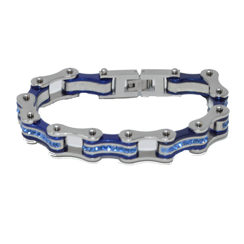 Vance Leather's Bracelets Two Tone Silver and Candy Blue Bike Chain Bracelet with Blue Crystal Centers