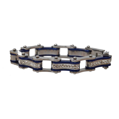 Two Tone Silver and Candy Blue Ladies Bike Chain Bracelet with White Crystal Centers