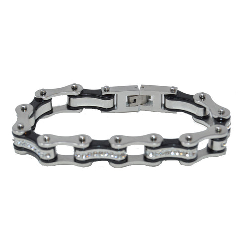 Vance Leather's Bracelets Two Tone Silver and Black Bike Chain Bracelet with White Crystal Centers