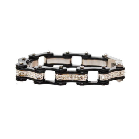 Two Tone Black and Black Ladies Bike Chain Bracelet with White Crystal Centers