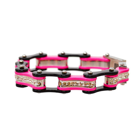VJ1119 Two Tone Black and Pink Ladies Bike Chain Bracelet with White Crystal Centers