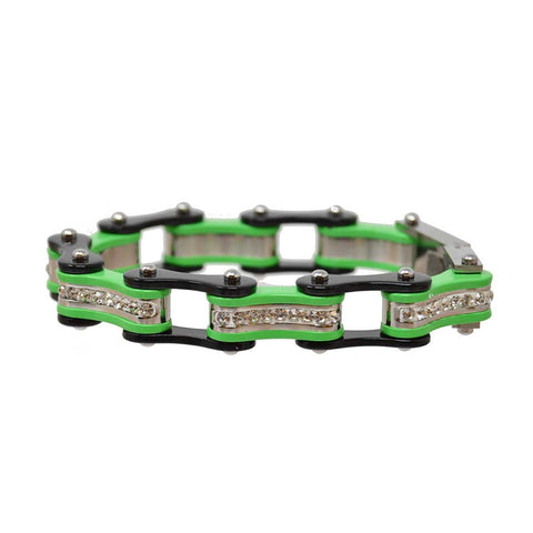 Vance Leather's Bracelets Two Tone Black and Lime Green Ladies Bike Chain Bracelet with White Crystal Centers
